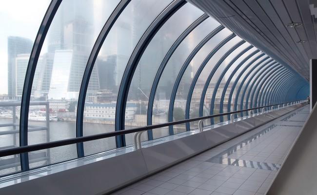 Glass corridor in modern office centre